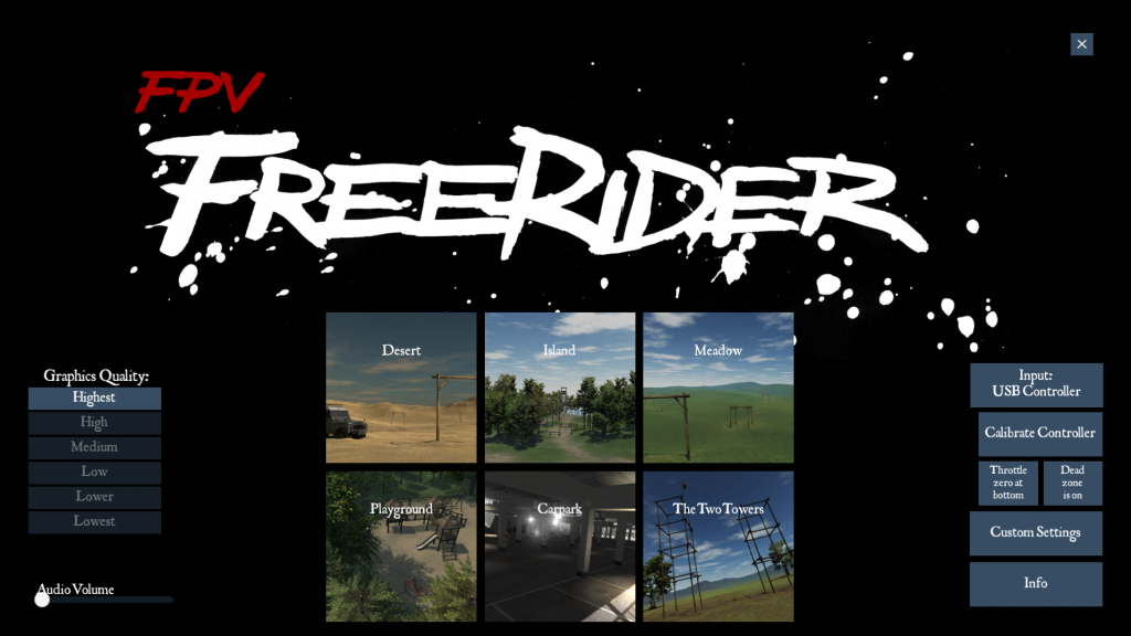 FPV freerider main screen