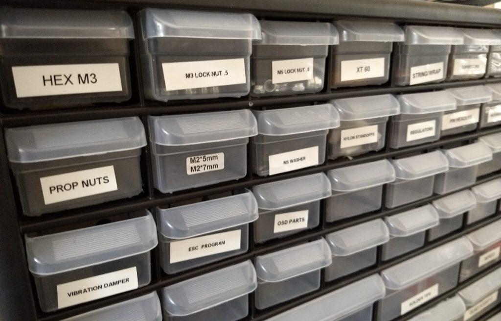 labeled hardware drawers