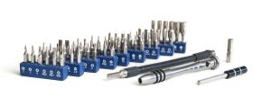 Screwdriver kit with about 60 separate tips