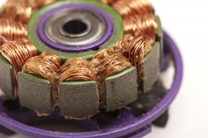 Motor with melted enamel on windings