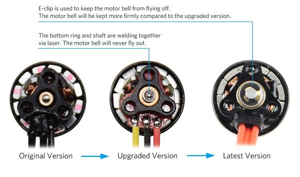 BetaFPV 0603 motor innovation, showing differences in each iteration