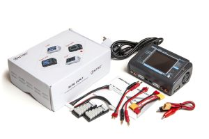 HTRC T240 Duo 240W AC/DC Charger with packaging and accessories